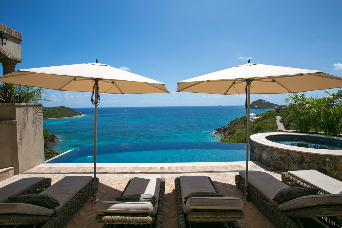 Chaise Lounges And Umbrellas With Pool And Hot Tub