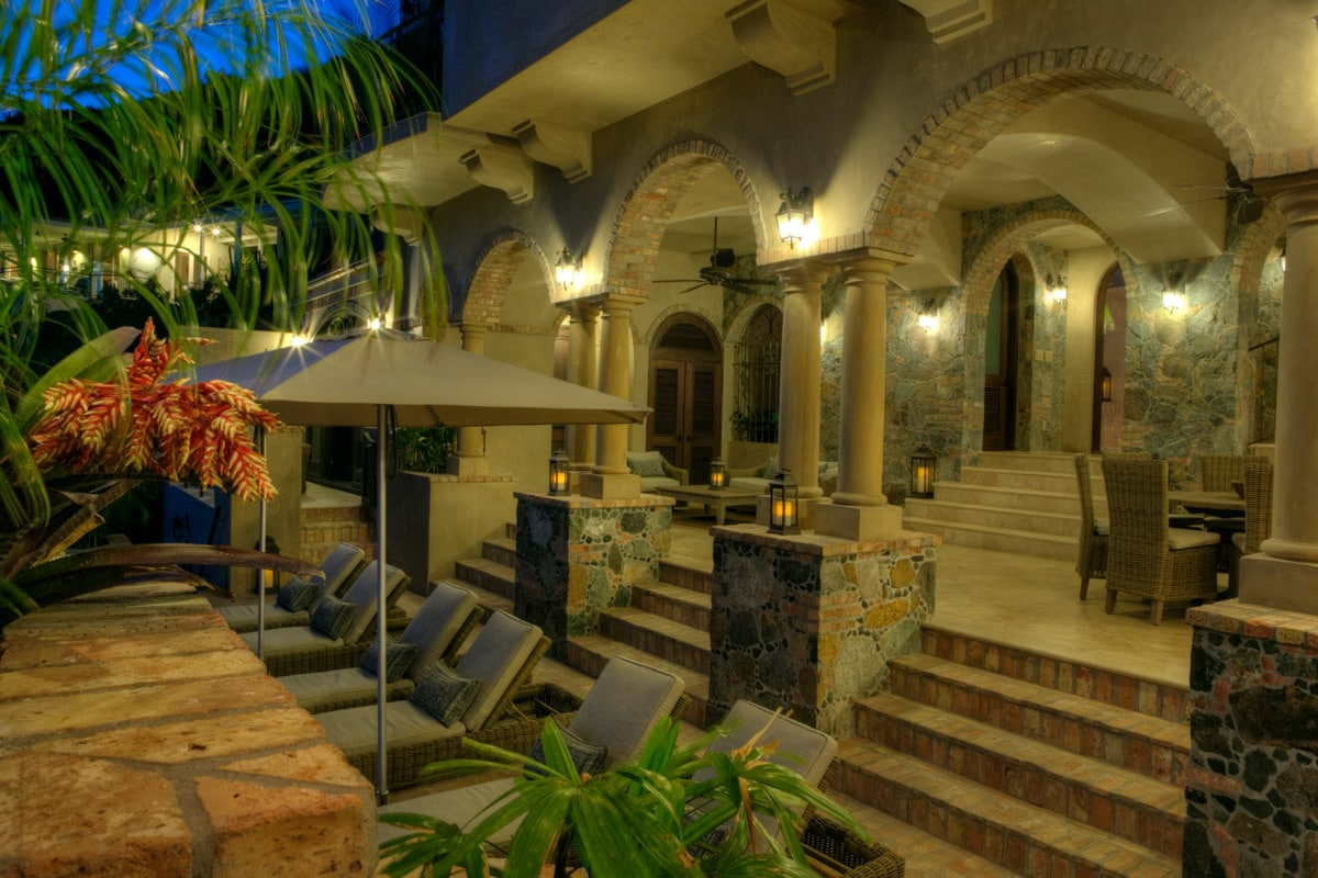 Patio And Arches At Night
